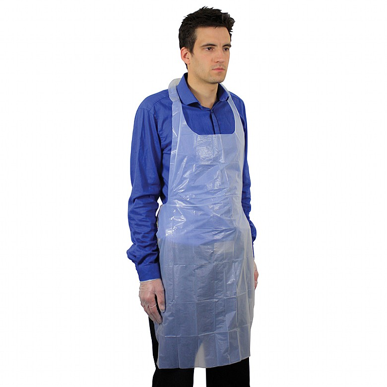 Pack of 100 White Disposable Polythene Flat Packed Aprons Nurse Catering