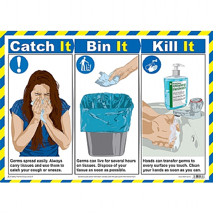 Catch It, Bin It, Kill It A2 Poster, Laminated