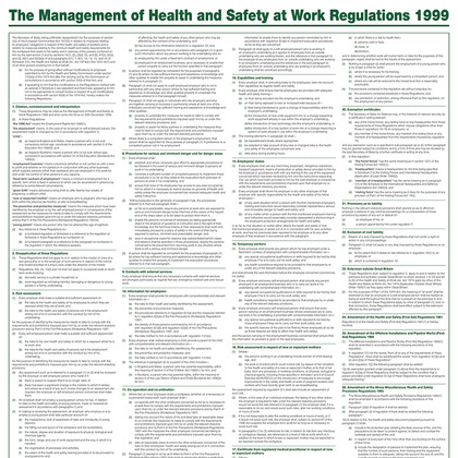 The Management of Health & Safety at Work Regulations 1999, A1 Poster