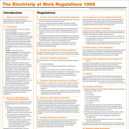 The Electricity at Work Regulations 1989, A1 Poster