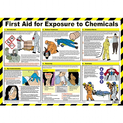 First Aid for Exposure to Chemicals Poster A2 Poster, Laminated