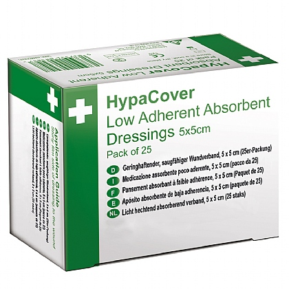 HypaCover Low Adherent Absorbent Dressing, 5x5cm (Pack of 25)