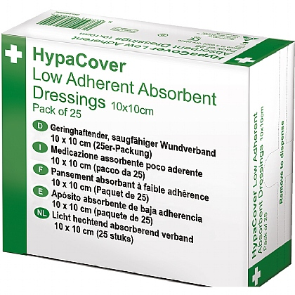 HypaCover Low Adherent Absorbent Dressing, 10x10cm (Pack of 25)