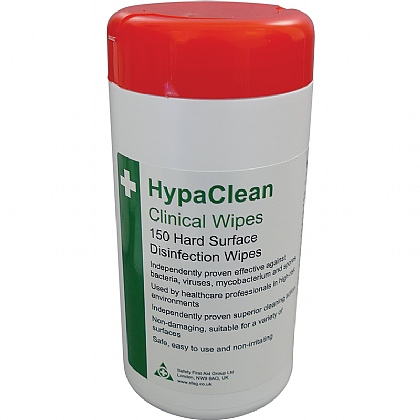 HypaClean Clinical Wipes, Tub of 150 (Pack of 12)