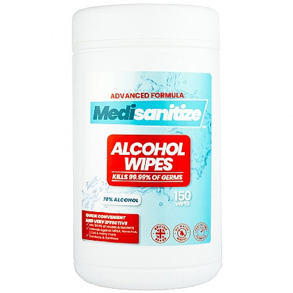 Medisanitize 70% Antibacterial Wet Wipes, Skin & Surface Tub 150