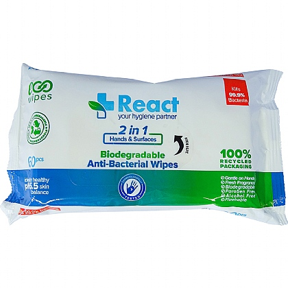 REACT Antibacterial Wipes, 60 Wipes (Pack of 24)