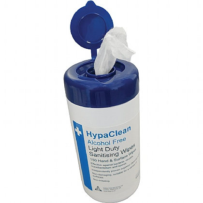 HypaClean Light Duty Sanitising Wipes, Drum of 150, Pack of 12