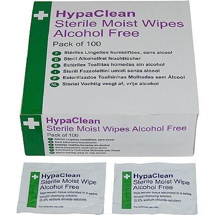 HypaClean Sterile Moist Wipes, Alcohol-Free (10 X 100 wipes)