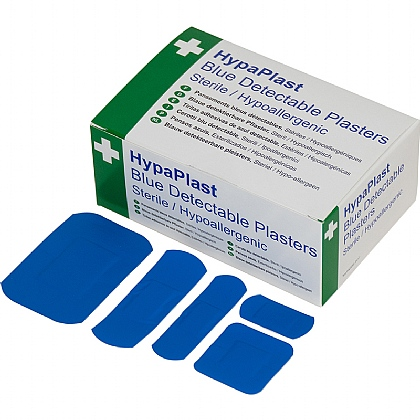 HypaPlast Blue Catering Plasters, Assorted (Pack of 100)