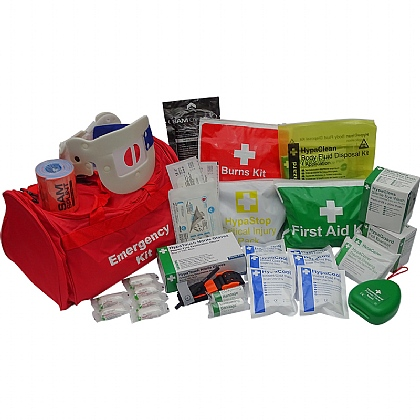 Emergency Trauma Kit in Red Emergency Bag, Professional