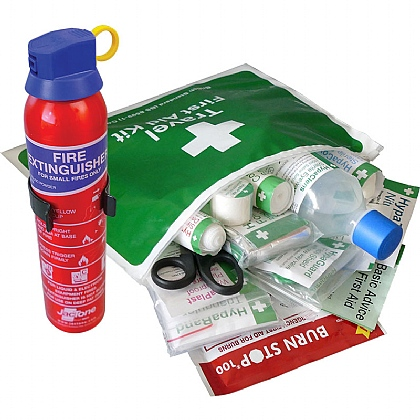 British Standard Compliant Travel First Aid Kit in Vinyl Wallet & Fire Extinguisher Kit BS8599