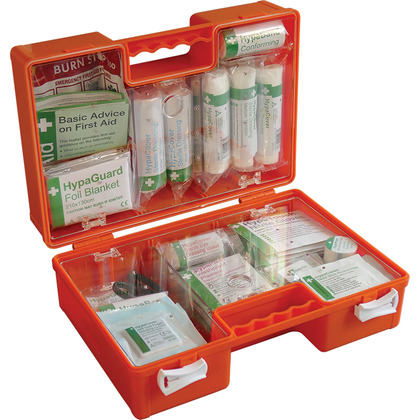 British Standard Compliant Deluxe Workplace First Aid Kits, Orange Case (Medium)
