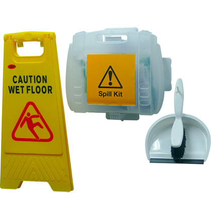 HypaClean Universal Spill Kit With Dustpan and Wet Floor Sign