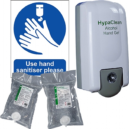 HypaClean Alcohol Hand Sanitiser Gel Dispenser Starter Pack (Standard)