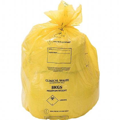 UN Yellow Clinical Waste Sack 8kg, 80L (Pack of 8)