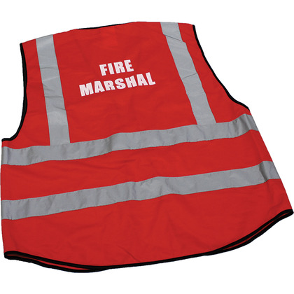 Fire Marshal Hi-Visibility Waistcoats, Red, Large
