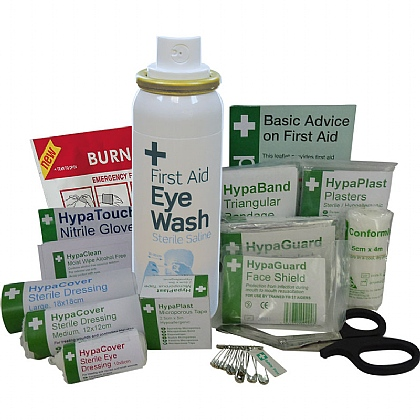 British Standard Compliant Travel First Aid Kit Refill with Eyewash Spray