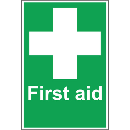 First Aid Sign with White Cross - 200x300mm (Rigid)