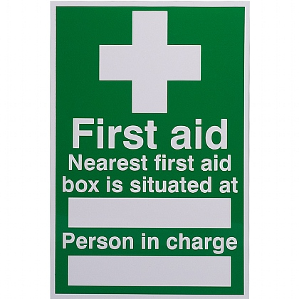 First Aid Box Situated Sign 200x300mm (Rigid)