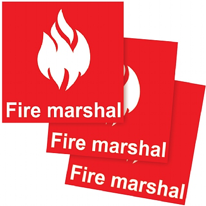 Fire Marshal Helmet Sticker, 5 x 5cm, Pack of 10