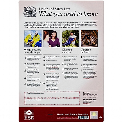 Health & Safety Law Poster, A3 Flexible Plastic