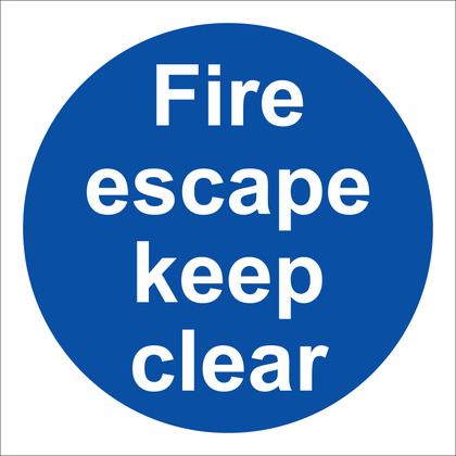 Fire Escape Keep Clear Sign, 10x10cm (Vinyl)
