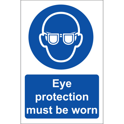 Eye Protection Must Be Worn Sign, Rigid, 20x30cm