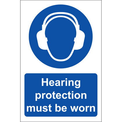 Hearing Protection Must Be Worn Sign, Rigid, 20x30cm