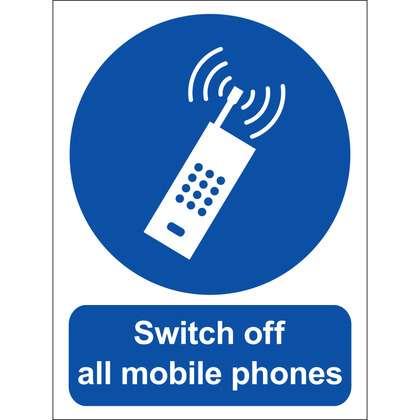 Switch Off All Mobile Phones Sign, Vinyl 15x20cm