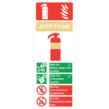 Fire Extinguisher Foam Sign,  7.5x20cm
