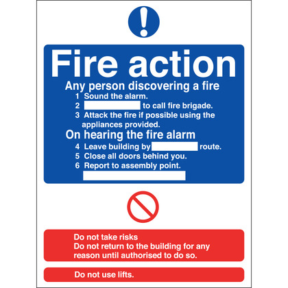 Fire Action Sign, 15x20cm (Vinyl)
