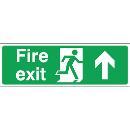 Fire Exit (UP) Sign, 30x10cm (Rigid)