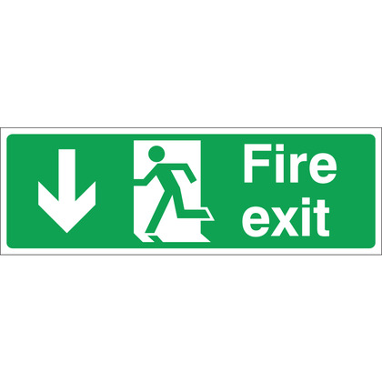 Fire Exit (DOWN) Sign, 30x10cm (Rigid)