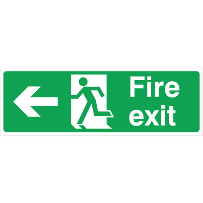 Fire Exit (L/H) Sign, 30x10cm (Rigid)