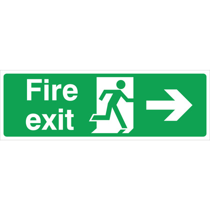 Fire Exit (R/H) Sign, 30x10cm (Rigid)