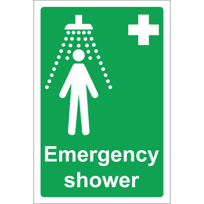 Emergency Shower Sign, Rigid, 20x30cm