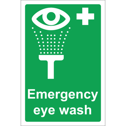 Emergency Eye Wash Sign, 20x30cm (Rigid)