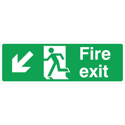 Fire Exit LEFT/DOWN Sign, 45x15cm (Vinyl)