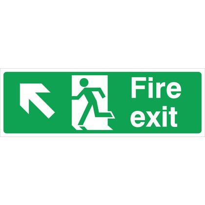 Fire Exit LEFT/UP Sign, 45x15cm (Rigid)