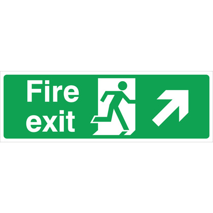 Fire Exit RIGHT/UP Sign, 45x15cm (Rigid)
