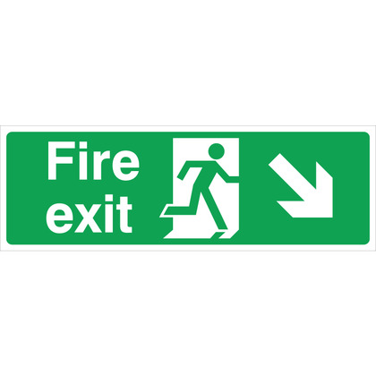 Fire Exit RIGHT/DOWN Sign, 45x15cm (Vinyl)