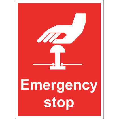 Emergency Stop Sign, Rigid, 15x20cm