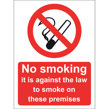 No Smoking It Is Against The Law To Smoke In These Premises Sign, 15x20cm (Vinyl)