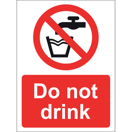 Do Not Drink Sign, Vinyl, 15x20cm