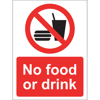 No Food or Drink Sign, Vinyl, 15x20cm