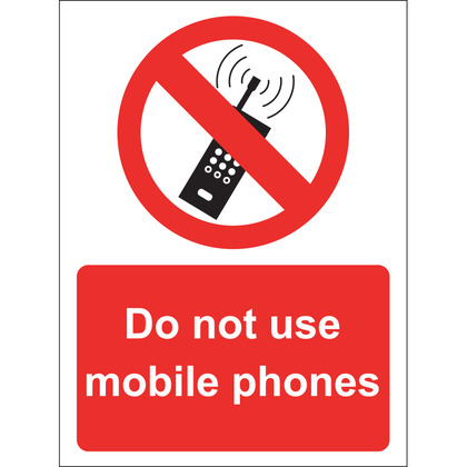 Do Not Use Mobile Phones Sign, Vinyl, 15x20cm