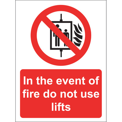 In The Event Of Fire Do Not Use Lifts Sign, Vinyl, 15x20cm