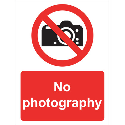 No Photography Sign, Vinyl, 15x20cm