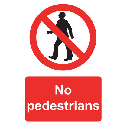 No Pedestrians Sign, Rigid, 20x30cm