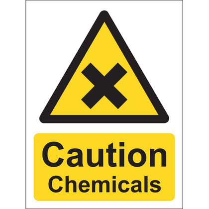 Caution Chemicals Sign, Vinyl, 15x20cm